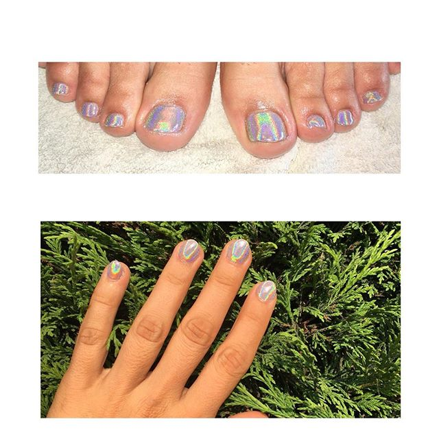 Pedicures unicorn colour # Gel nails unicorn colour # Rainbow colour # Hologram colour # @prettynailskt  Kingston Upon Thames # ❤️👌
