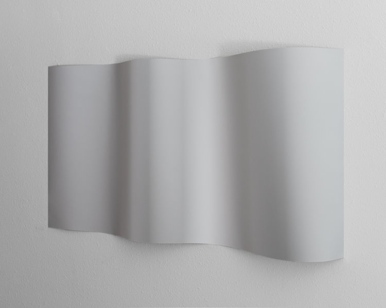 "Resembling shadows (Metallic Grey) , 2018, Double-sided archival inkjet print, 43"" x 24"" x 4"", Edition of 3."