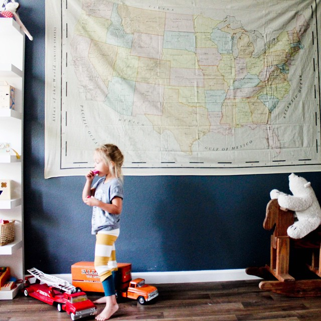 I officially stink at keeping birthday presents until their birthdays. She has been so into maps so we bought her a map tapestry and Drew and I hung it during her nap 😳. Now she say she can 'find papa anywhere!' (Papa's a pilot and he face times her from all over the country and world showing her where he is. Last time he took her via video chat into Yellowstone for a close up of the bison. It's pretty neat to see her explorer different places through him).