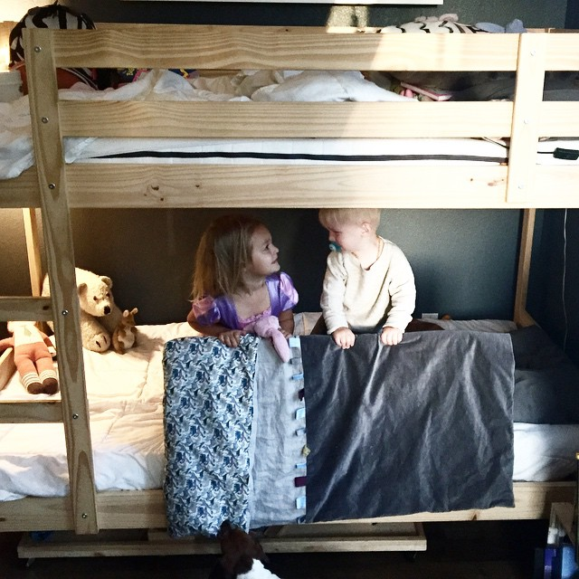 """His first night in his big boy bed was a success with a little moral support from his big sister, """"Drew, I will be right above you all night. If you need anything just call for me because I am four now and I can help you."""" 😢. This week it all seems to be going a bit too fast."""