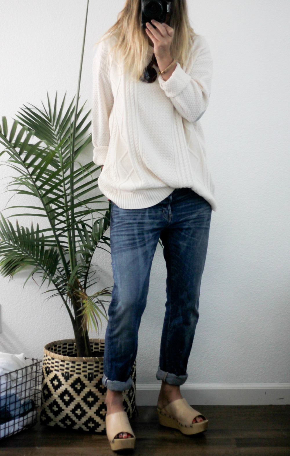 Day 2: Pieces #3 and #4 Jeans: Madewell  Sweater: Urban Outfitters Shoes: KDB via Anthropologie