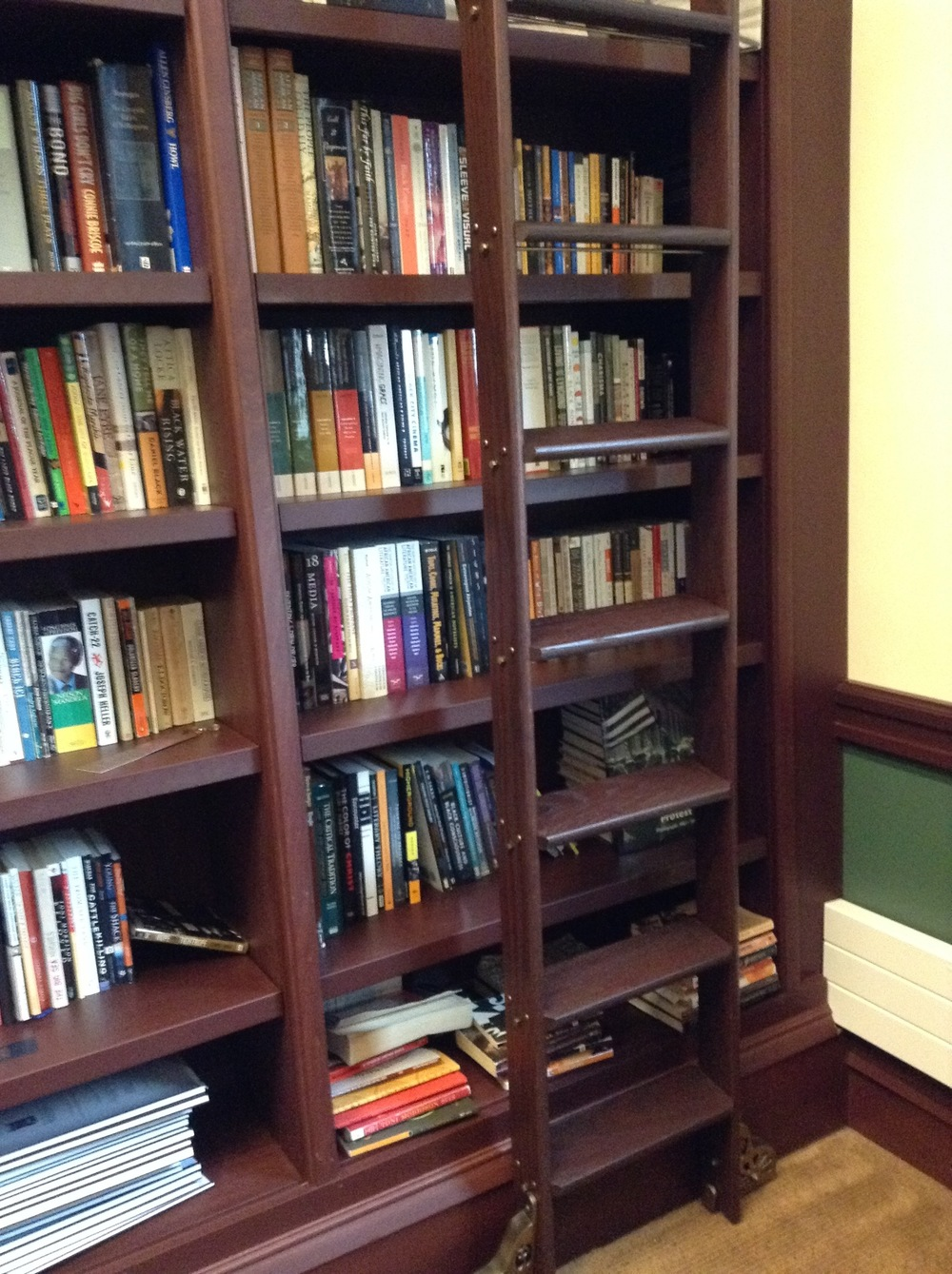 If you are a very good professor, you get a floor-to-ceiling bookshelf with a ladder in your office. Just kidding.