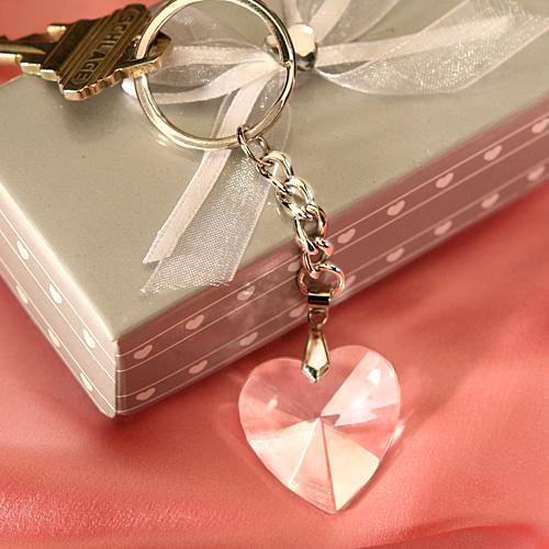 Chrome Keychain with Crystal Heart Wedding Favors