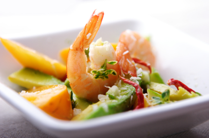 shrimp,avocado and mango salad