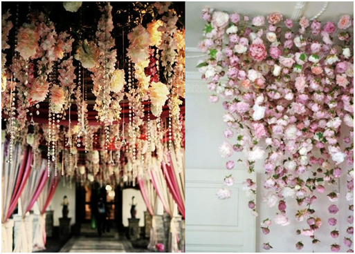 Hanging gorgeous flowers from the ceiling can turn an eye sore into a WOW factor!
