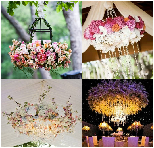 Adding flowers to chandeliers can add that extra touch you're looking for.