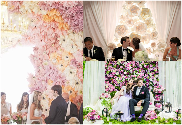 Spice up your back drop with a floral wall. Kanye bought Kim a huge floral wall for Valentine's Day, a total trend! - See