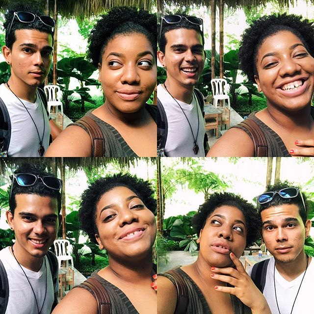 Noel y yo tomamos el caribe: Skin on crazy glow in the middle of the butterfly garden, in the middle of the Dominican Republic, while in the middle of realizing, we been riding for 8 years. #dominicanrepublic #kiskeylibre #afrolatino