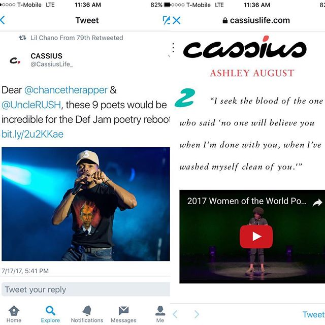 BUT YALL. @chancetherapper done retweeted an article I'm featured in and my chest is in pain! @hbo wessgud!? Lol I knew it would be a good week.  S/o to my girl @ohhaibarbie for the article and to all the poppin poets on the list. #hbodefpoetry #hbo #cassius