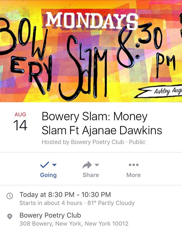 HUNTEE IM HOME! How else would you celebrate the comeback of the Bowery Slam National team, other than with a slam! We are fresh off the plane and ready to hug your faces! This one is not to be missed! Featuring the incredible Ajanae Dawkins!! Come out, get a drank and slam for some cash! Also, I MISS YALL!