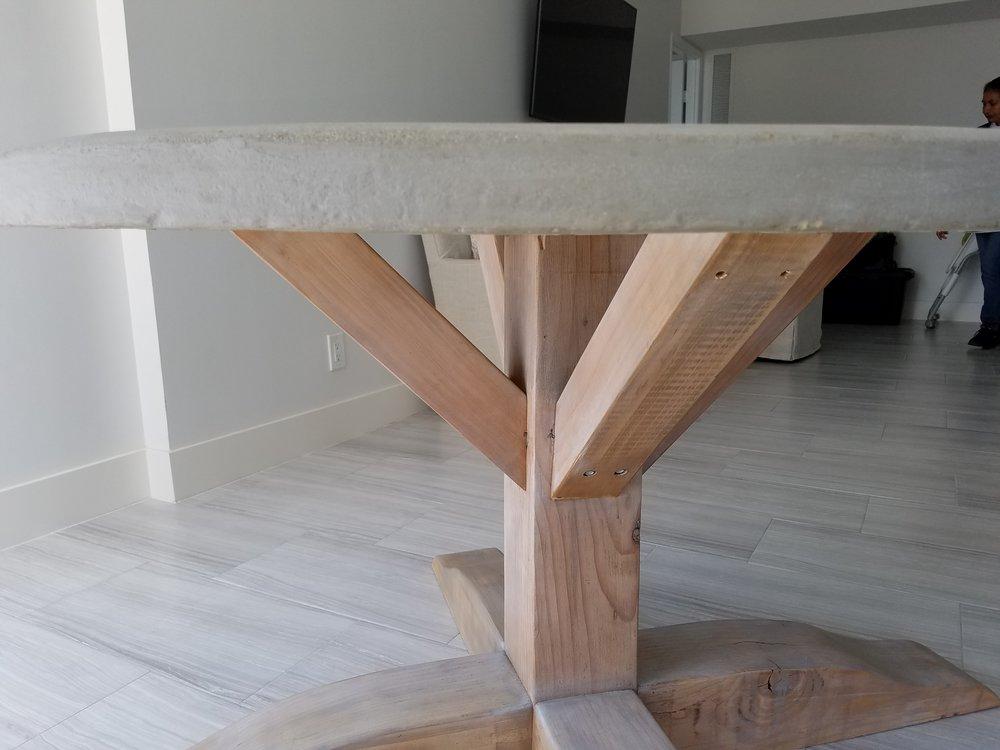 Concrete Top Round Pedestal Table