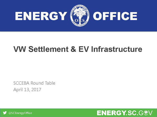 South Carolina Energy Office:VW Settlement & EV Infrastructure - Maeve Mason and Landon MastersEnergy Specialists at the Office of Regulatory Staff'sState Energy Office &Co-coordinators of the Palmetto Clean Fuels CoaltionDOWNLOAD THE PRESENTATION HERE