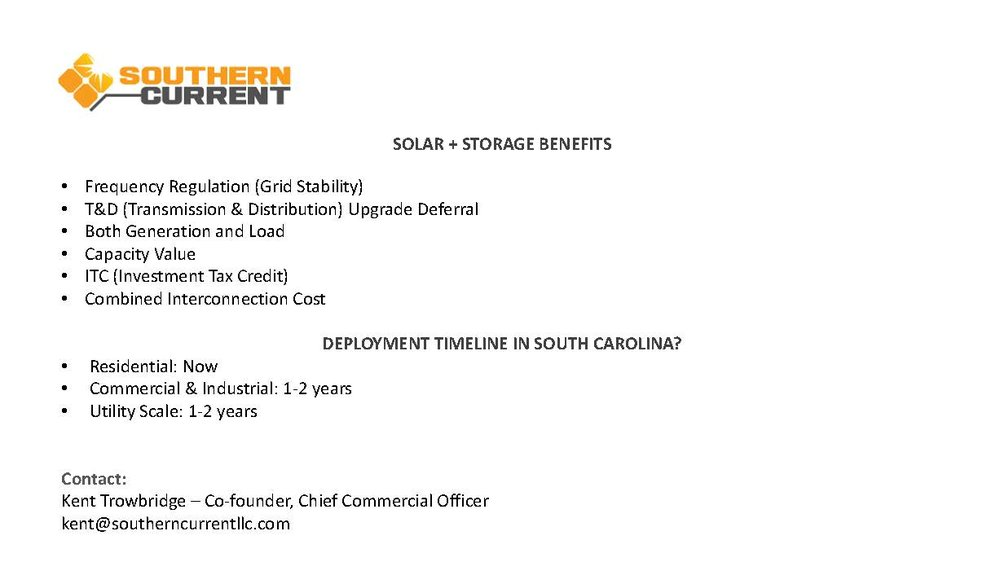 Solar Storage and Benefits - Kent TrowbridgeCo-Founder, Chief Commercial OfficerSouthern CurrentDOWNLOAD THE PRESENTATION HERE
