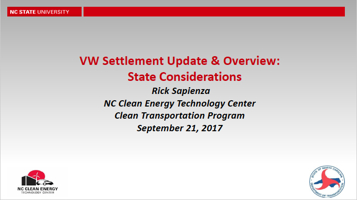 Rick SapienzaDirector of the Clean Transportation Program,NC Clean EnergyTechnology Center,NC State University - View the Presentation Here