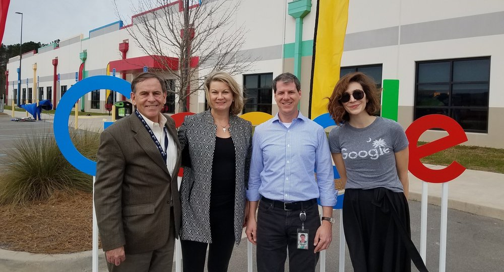 PICTURED L to R: SCCEBA Board Chair Grant Reeves (Sr. VP - The Intertech Group), SCCEBA Exec. Dir. Bonnie Loomis, Google's Head of Global Energy Market Development Michael Terrell and Google Energy Market Development Program Mgr. Caroline Golin.