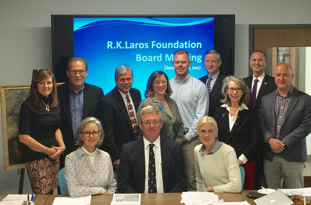 L-R Seated Trustee Ann Laros-Weaver, Chair R. Keller Laros III, Vice Chair Laura Bennett Shelton, L-R Standing Trustees Laurie G. Hackett, Dr. Michael Abgott, Robert Bilheimer, Diane Donaher, Board Visitor and R.K.Laros Great Grandson R.K.Laros IV, Treasurer Robert Huth, Jr., Co Treasurer Ron Donchez, Secretary George Mowrer