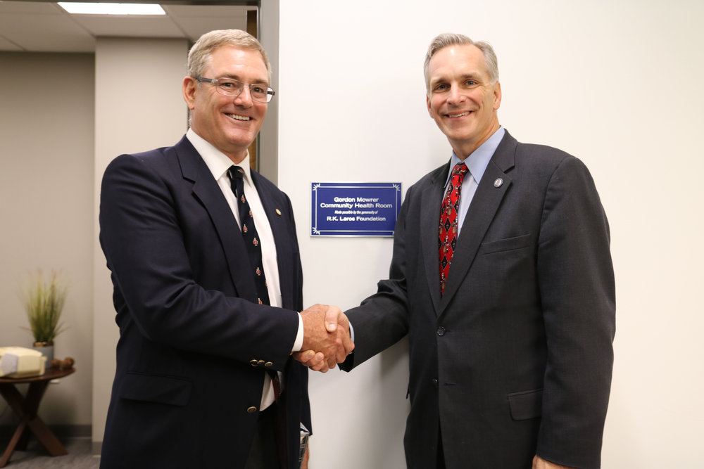 R.K.Laros Foundation Chairman with Moravian College President Bryon Grigsby at the Gordon Mowrer Community Health Room.