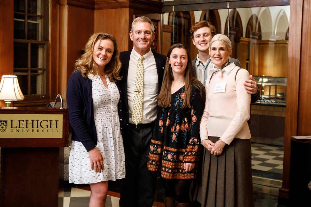 L-R Laros descendants Janelle Laros '21, Board Chair R.Keller Laros III, Alexandra Lada '20, Truman Shelton '21, Board Vice Chair Laura Bennett Shelton