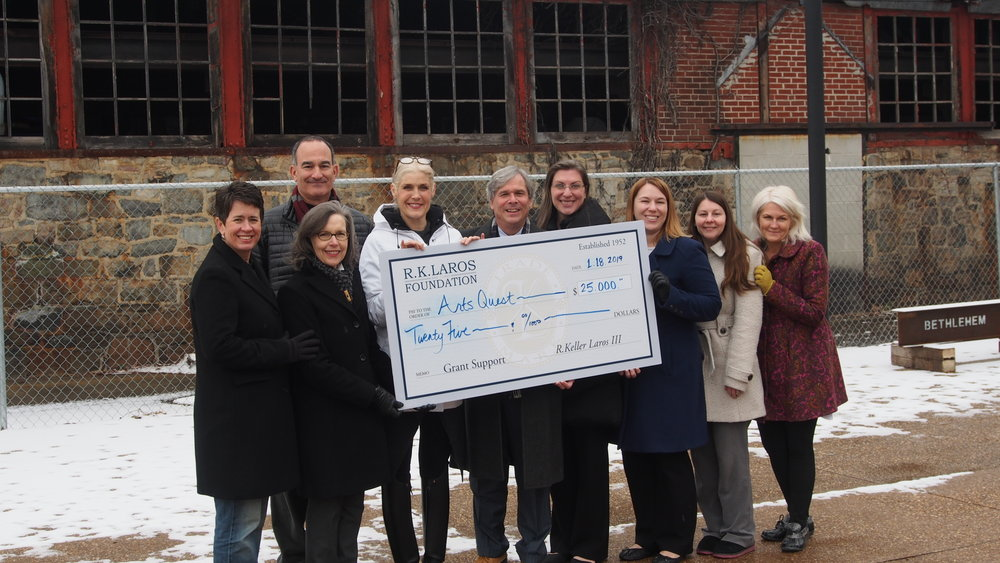 The R.K.Laros Foundation Awards a $25,000 grant to support ArtsQuest's current Capital Campaign on 1.17.19. The foundation grant will be part of the restoration and preservation of the historic Bethlehem Steel Turn and Grind Shop to expand venue space in providing access to art, culture and educational programs for the diverse residents of the Lehigh Valley and others who seek access to our community.