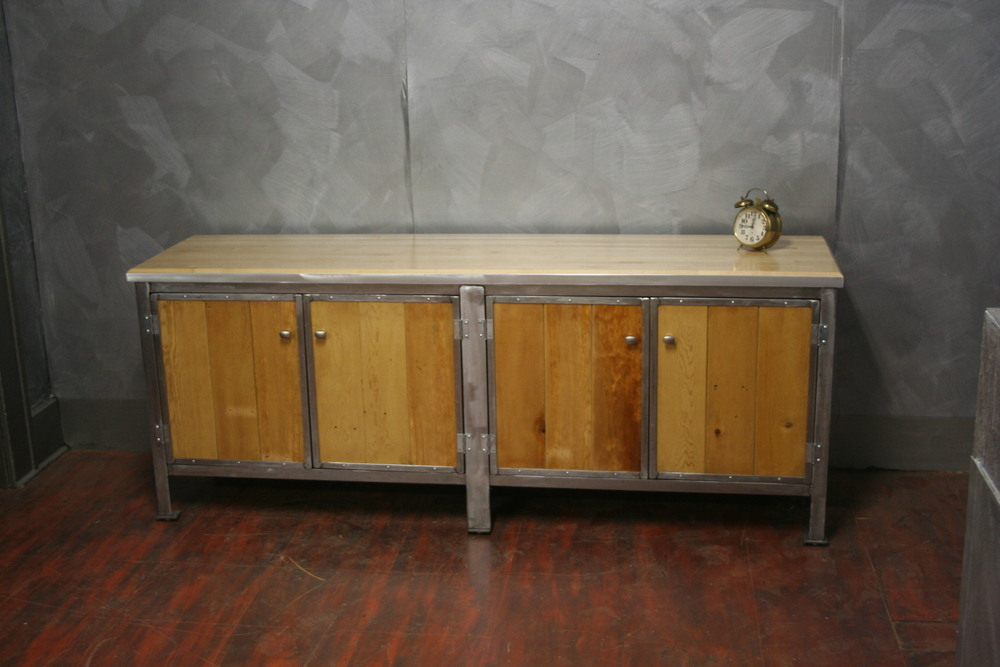 "Reclaimed Pine with Steel Trim 20"" x 60"" x 30""  $1995"