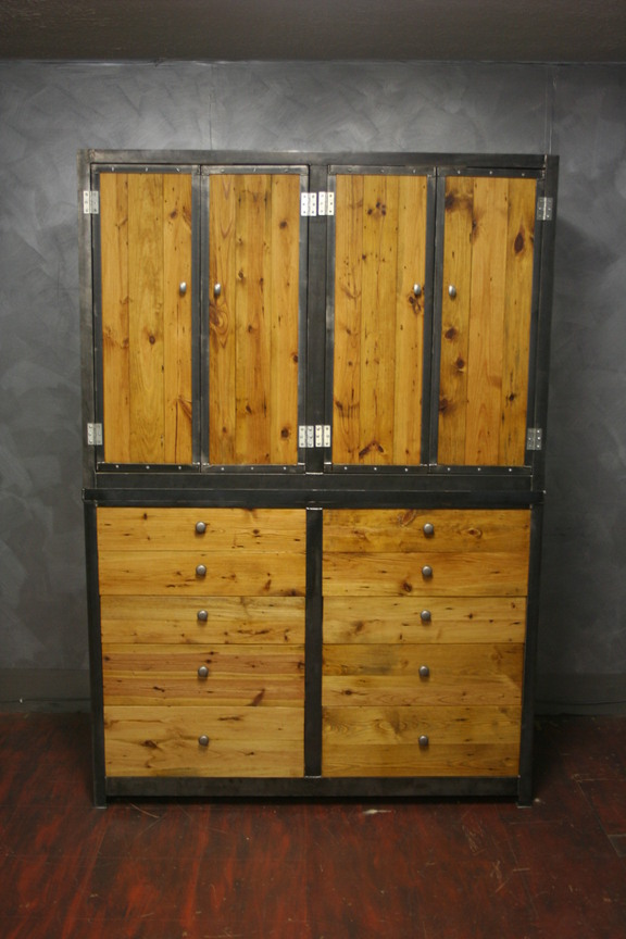 "Reclaimed Pine with Steel Trim 55"" x 28"" x 80"" $3500"