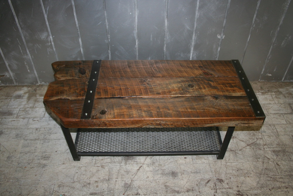 "Primitive Plank Top with Steel Strap 24"" x 42"" $750"