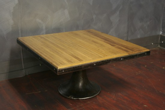 "Pine Bowling Alley Top with Vintage Base ""30 x 30"" $750"