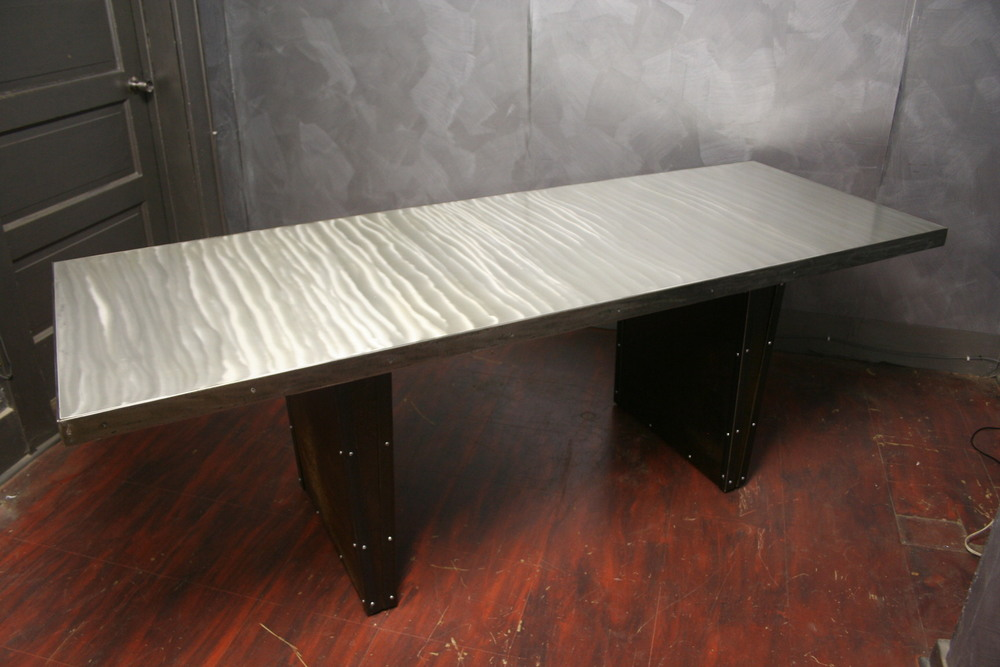 "Industrial Steel Top with Sheet Metal Legs 30"" x 72"" x 30"" $1950"