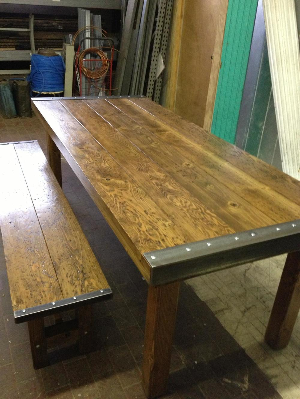 "Plank Top with Steel Trim 36"" x 72"" $1350"