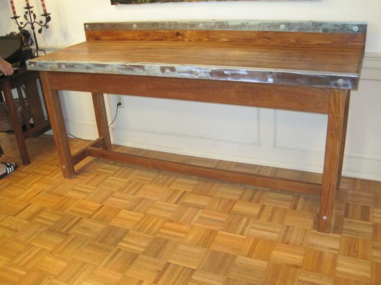 "Pine Bowling Alley Top with Wood Base and Steel Trim 72"" x 24"" $1650"