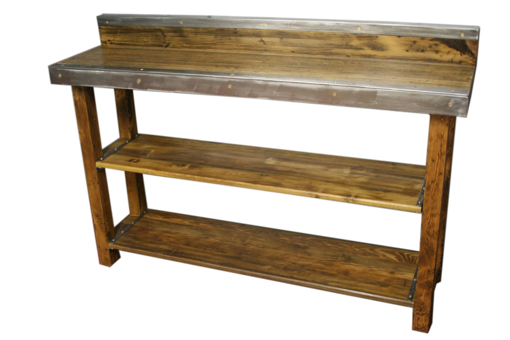 "Pine Bowling Alley Top with Wood Base and 2 Shelves 48"" x 24"" $1350"