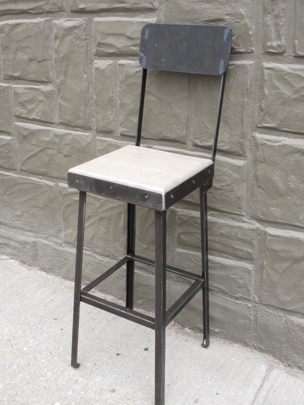 Bowling Alley Bar Stool with Back $325