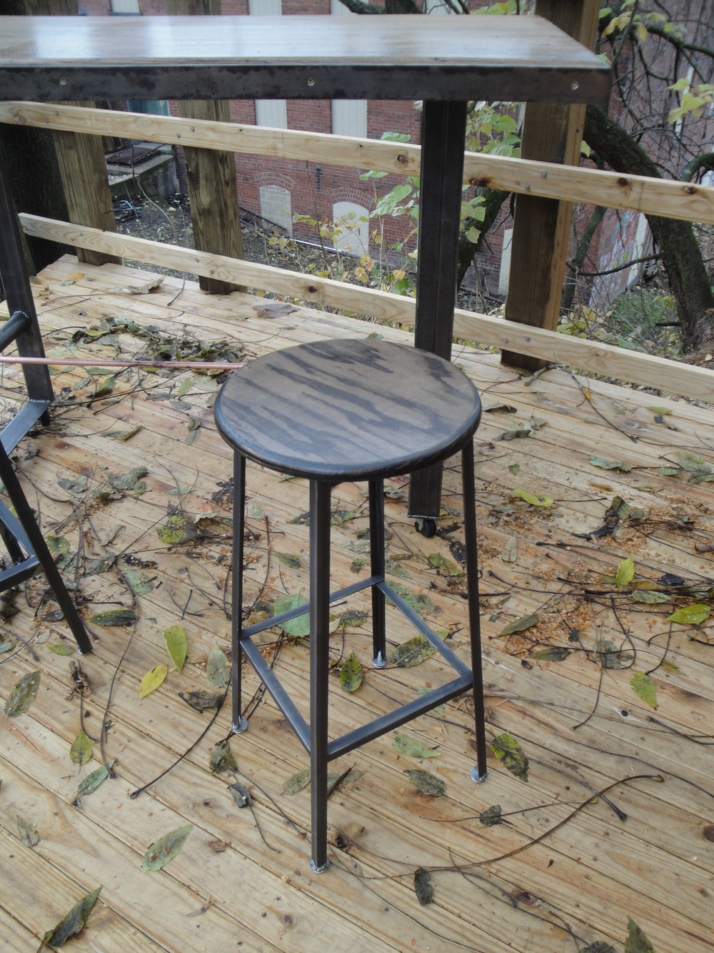 Reclaimed Plank Top Stool $195