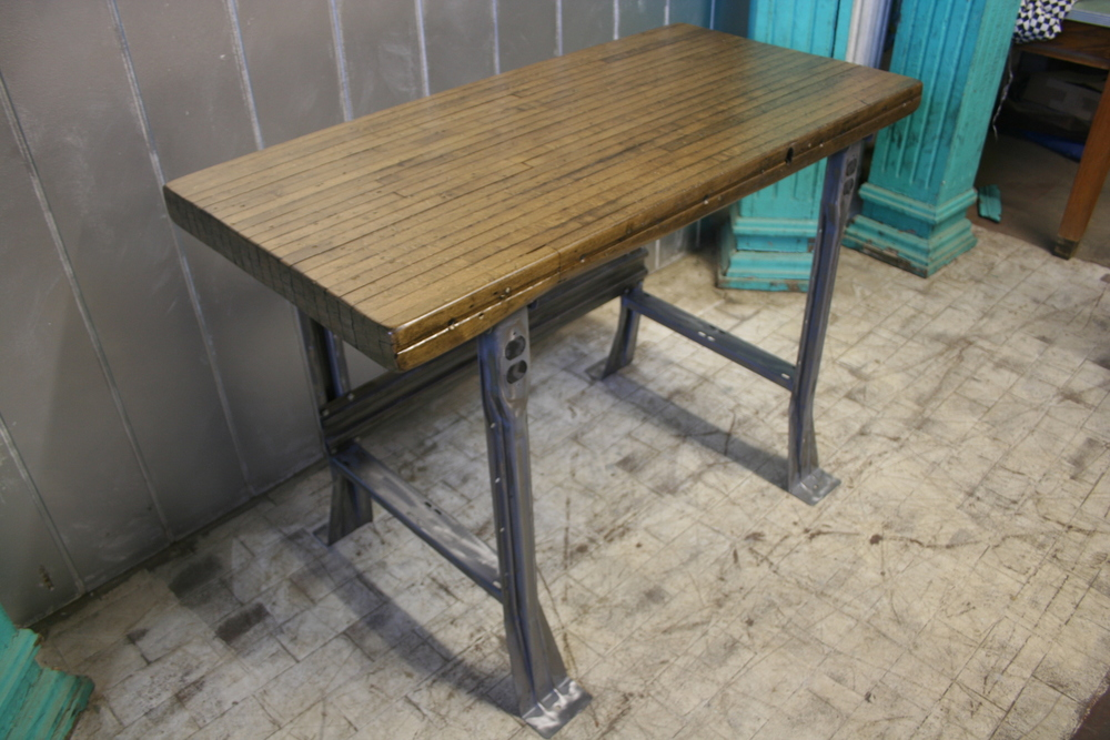 "Maple Bowling Alley Top with Stamped Metal Legs 48"" x 24"" x 34"" $650"