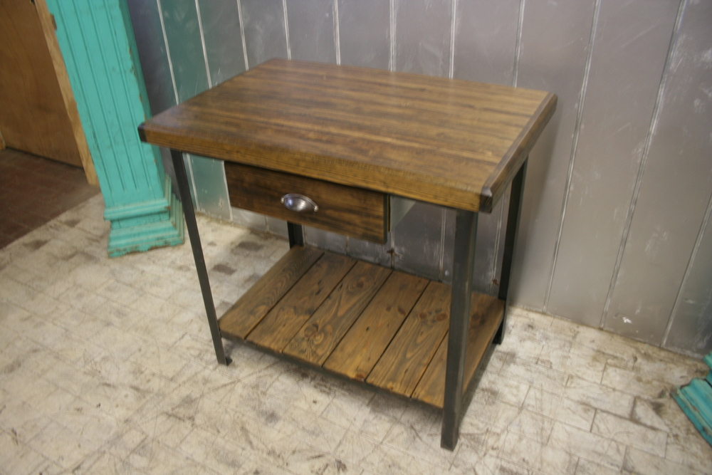 Pine Bowling Alley Kitchen Island $995