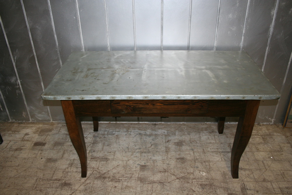 Antique Table with Steel Top $475