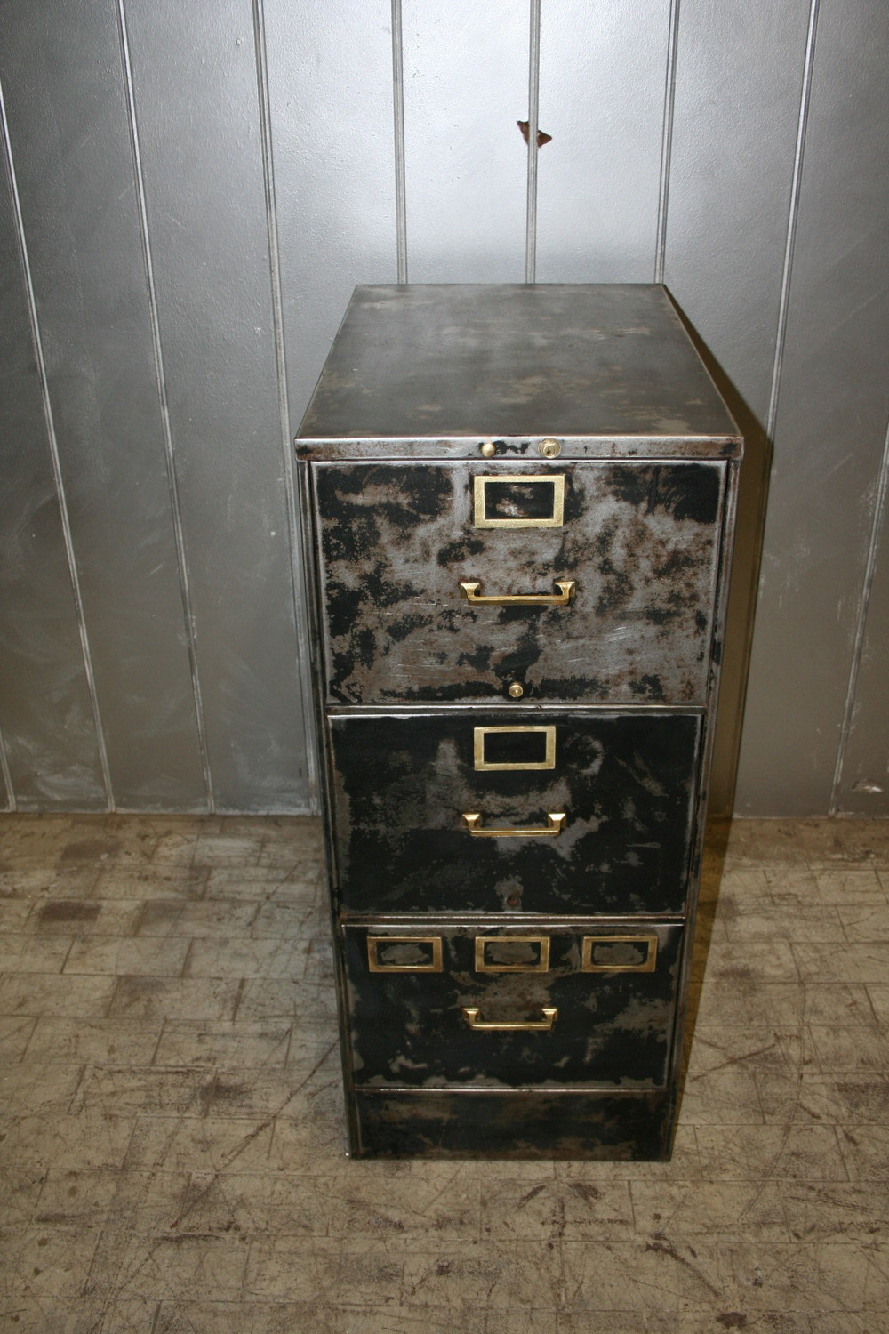 Reclaimed Black Metal File Cabinet $325