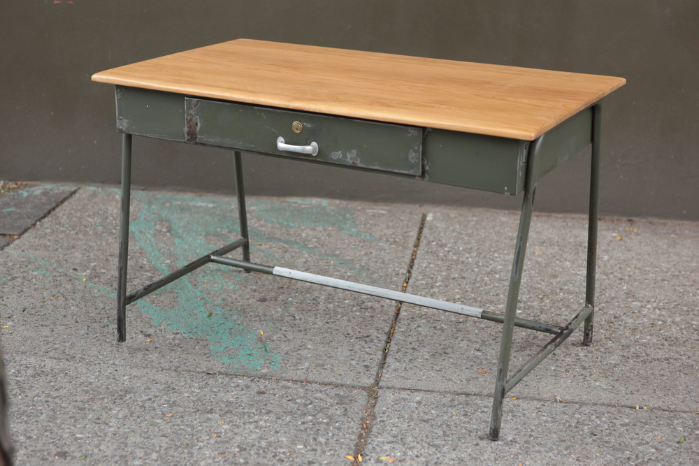 sold ! Reclaimed Military Desk with cherry top $575