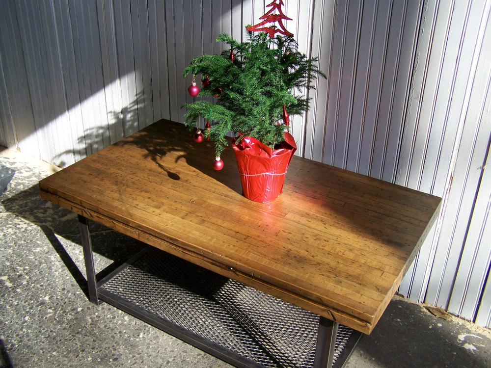 CUSTOM INDUSTRIAL COFFEE TABLES: Recycled Steel And Reclaimed Bowling Alley