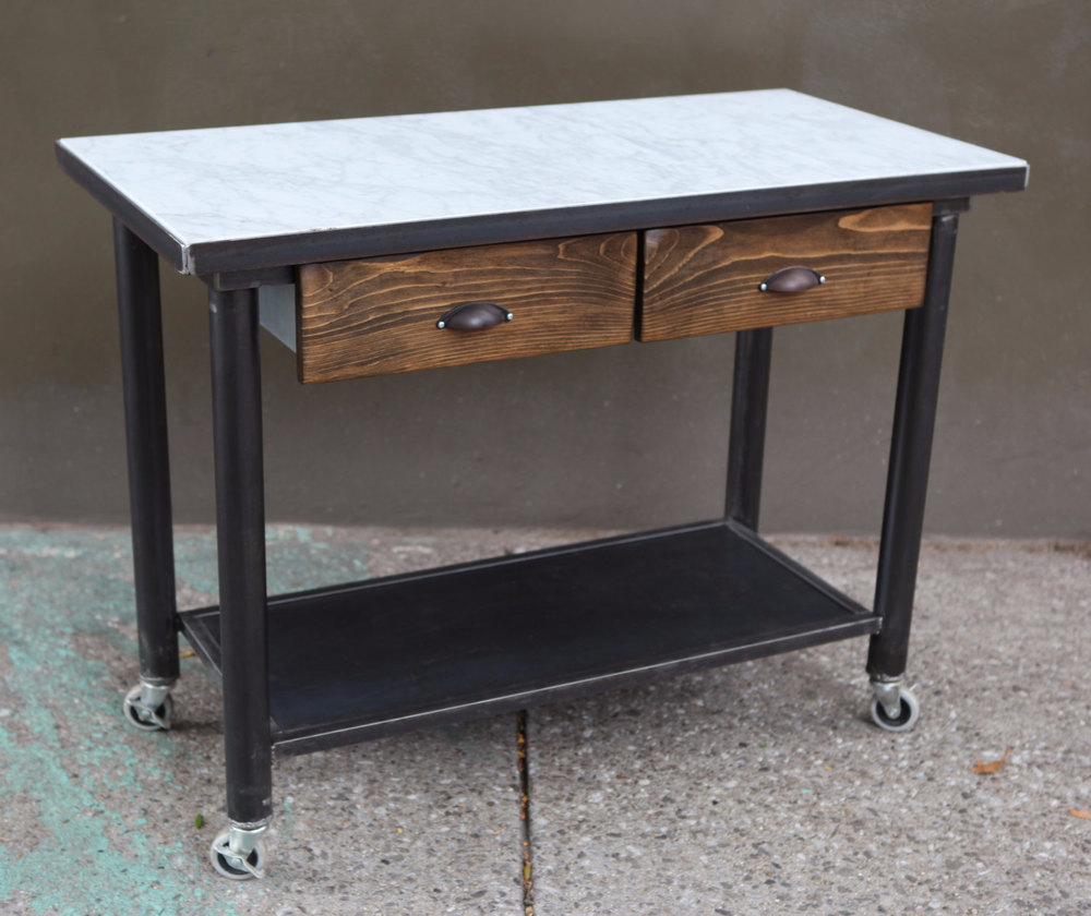 Marble Topped Kitchen Island | Marble Top Kitchen Island Mid Century Industrial Primitive Furnishings
