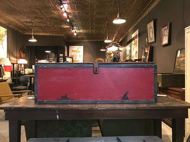 Industrial metal toolbox, great for storing away items or just to add a pop of red to liven up a space!