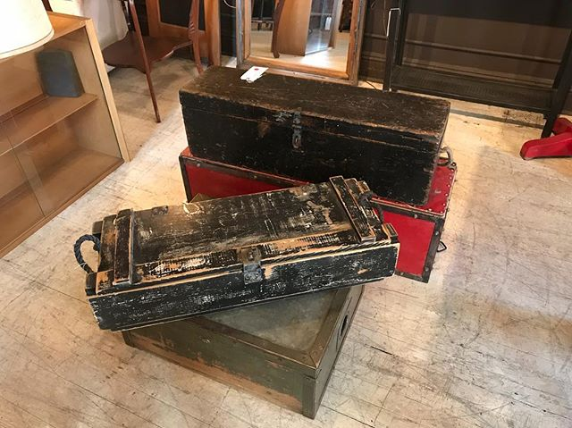 Wood and metal industrial trunks half off!