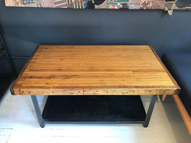 Reclaimed bowling alley table, this is a larger size we have in-store. We also have a smaller one for us New Yorkers w limited space 🙃 and as always can custom build one for you!