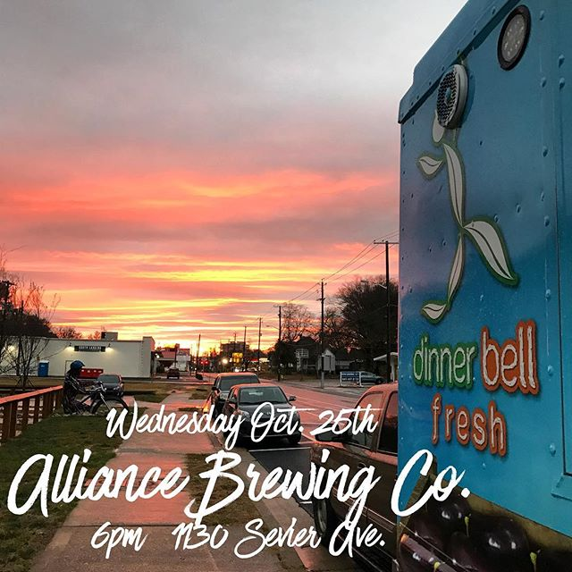 See you tonight at @alliancebrewing. Serving at 6pm. #sunset #patio #brew #planttastic #healthyhappytennessee #veggies