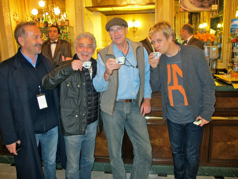 enjoying coffee in Naples w/ Steve Gadd & James Taylor 2012