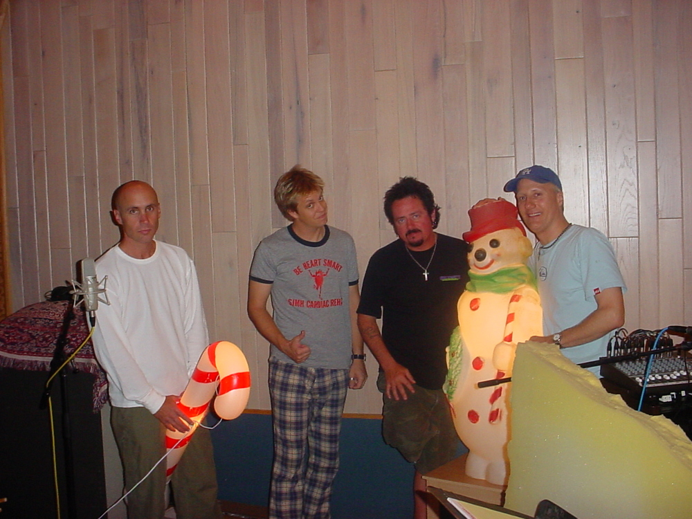 SantaMental recording session, Steakhouse Studios Noho CA w/ John Pierce, me in some pants, Steve Lukather, unnamed snowman, Gregg Bissonette