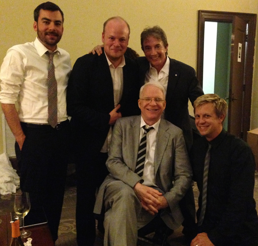 Mike Guggino, Mike Ashworth, Martin Short & seated Steve Martin & jb, Richmond, VA 2014