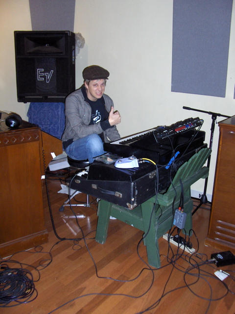recording hip hop @ Toss Panos' studio on a makeshift stand, 2008