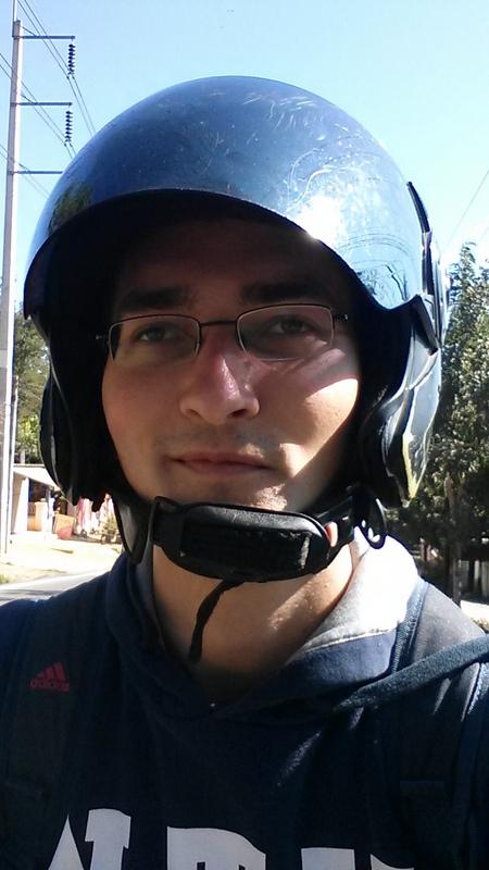 Selfie beim Roller Fahren