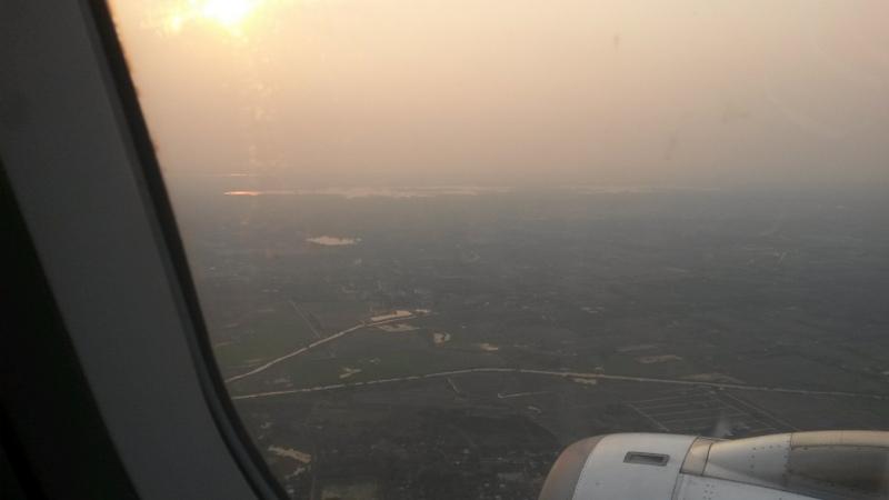 Blick auf Myanmar kurz vor der Landung